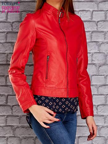 Czerwona skórzana kurtka o klasycznym kroju                                  zdj.                                  3