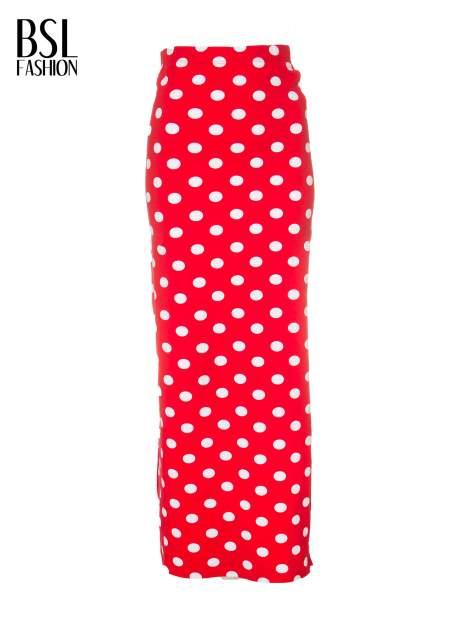 Czerwona spódnica maxi w grochy                                  zdj.                                  5