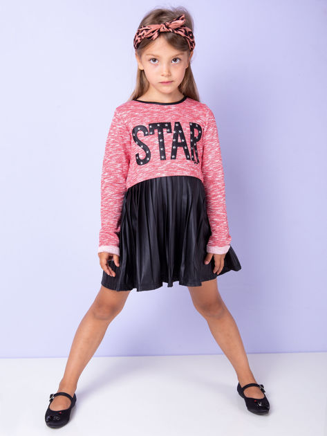 Czerwona sukienka dla dziewczynki z napisem                              zdj.                              4