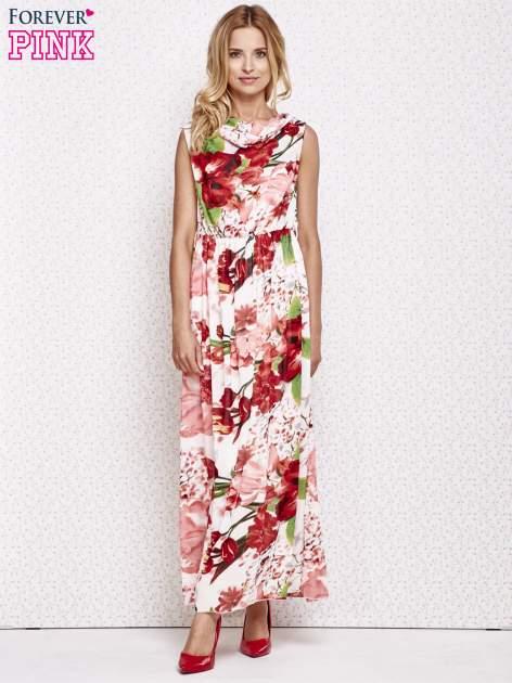 Czerwona sukienka maxi w kwiaty                                  zdj.                                  4