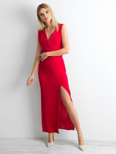 Czerwona sukienka maxi z rozcięciem                              zdj.                              1