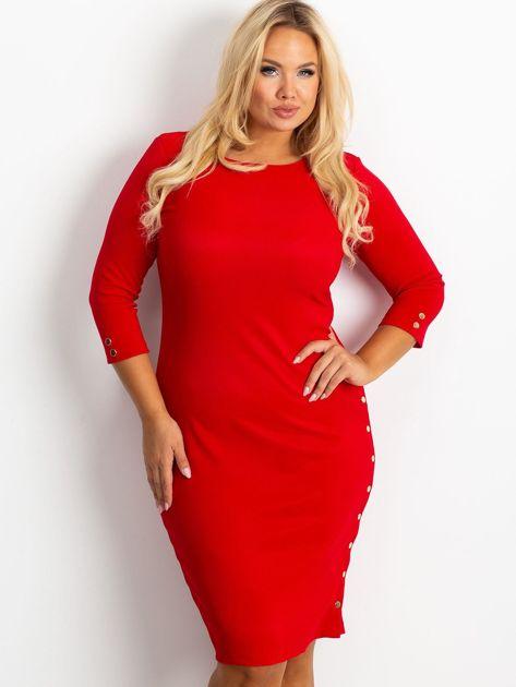 Czerwona sukienka plus size Miley                              zdj.                              5