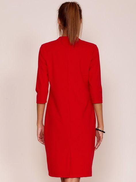 Czerwona sukienka z kieszeniami                               zdj.                              2