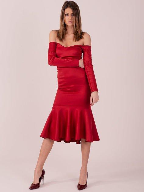 Czerwona sukienka z szeroką falbaną na dole                                  zdj.                                  1