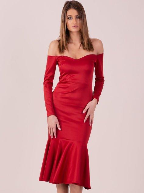 Czerwona sukienka z szeroką falbaną na dole                                  zdj.                                  2