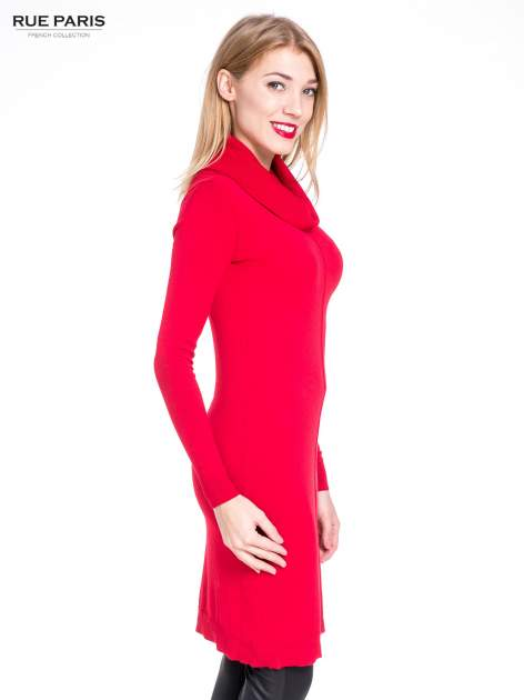 Czerwona swetrowa sukienka z golfem                                  zdj.                                  3