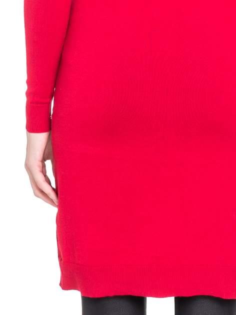 Czerwona swetrowa sukienka z golfem                                  zdj.                                  8