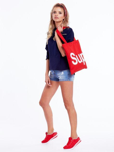 Czerwona torba materiałowa z napisem SUP                              zdj.                              5