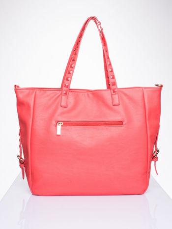 Czerwona torba shopper bag z kolorowymi ćwiekami                                  zdj.                                  2