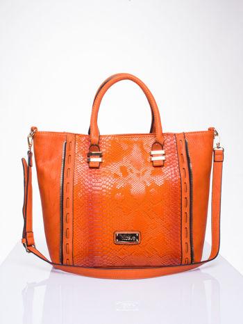 Czerwona torba shopper bag z wzorem skóry węża                                  zdj.                                  1