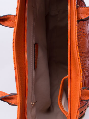 Czerwona torba shopper bag z wzorem skóry węża                                  zdj.                                  4