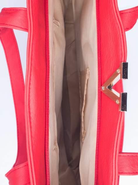 Czerwona torba shopper bag ze kieszeniami na klapki                                  zdj.                                  4