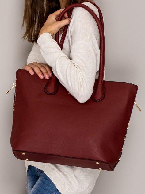 Czerwona torba shopper bag ze złotymi suwakami                                  zdj.                                  4