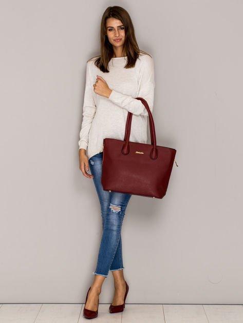 Czerwona torba shopper bag ze złotymi suwakami                                  zdj.                                  3