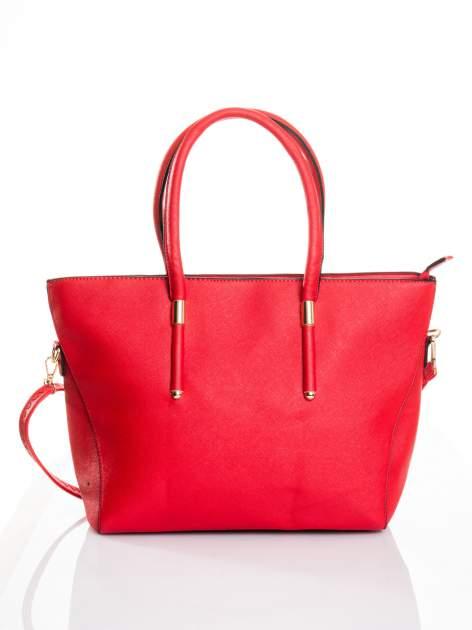 Czerwona torba shopper efekt saffiano                                  zdj.                                  1