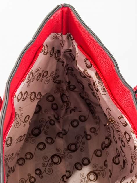 Czerwona torba shopper efekt saffiano                                  zdj.                                  9
