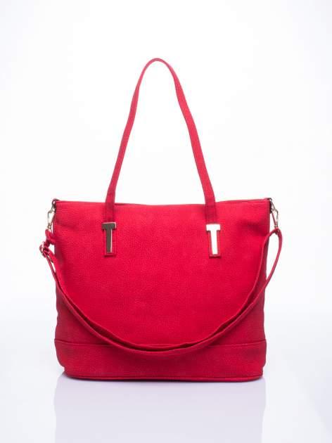 Czerwona torba shopperka z odczepianym paskiem
