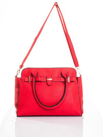 Czerwona torba z klamrami z odpinanym paskiem                                  zdj.                                  5