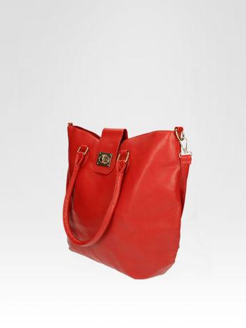 Czerwona torebka city bag z zatrzaskiem                                  zdj.                                  3