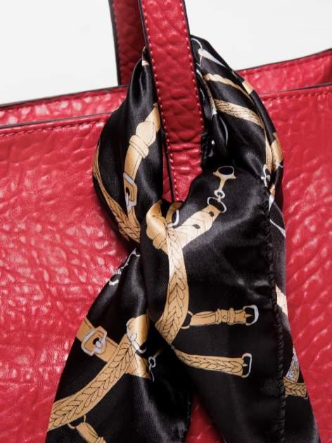 Czerwona torebka shopper bag z apaszką                                  zdj.                                  3