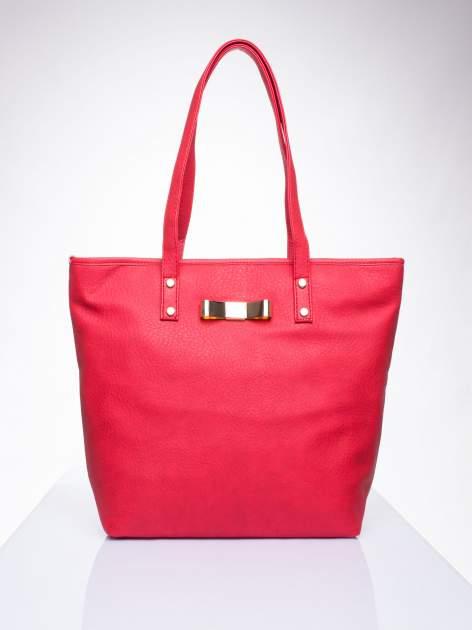 Czerwona torebka shopper bag z kokardką                                  zdj.                                  1