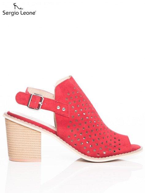 Czerwone ażurowe sandały Sergio Leone na szerokim klocku                              zdj.                              1
