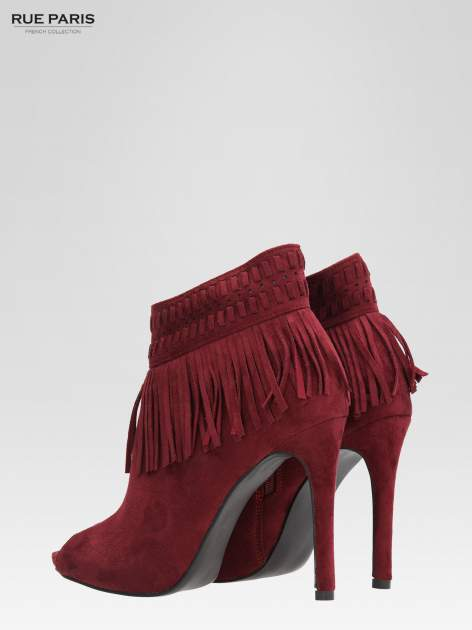Czerwone botki faux suede Suzie open toe z frędzlami w stylu boho                                  zdj.                                  6