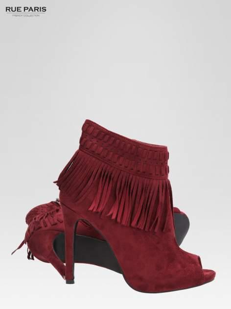 Czerwone botki faux suede Suzie open toe z frędzlami w stylu boho                                  zdj.                                  5