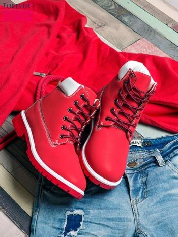 Czerwone buty trekkingowe Lorion damskie traperki                                   zdj.                                  1