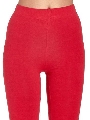 Czerwone gładkie legginsy damskie basic                                  zdj.                                  4