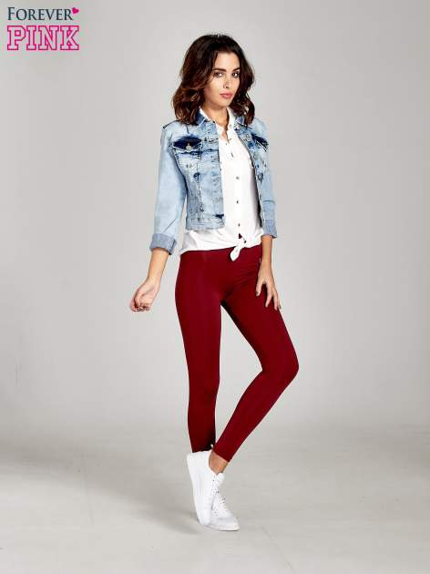 Czerwone legginsy basic z lekkim ociepleniem                                  zdj.                                  2