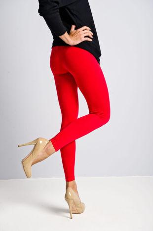 Czerwone legginsy bawełniane z gumką w pasie                                  zdj.                                  4