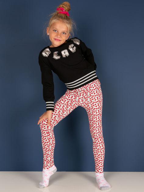 Czerwone legginsy dla dziewczynki w kwiatki