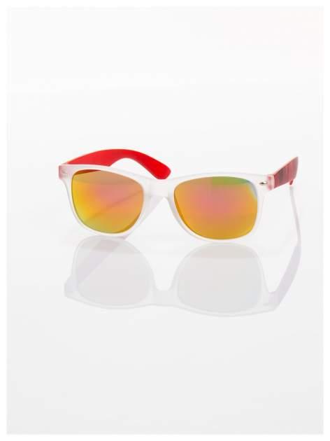 Czerwone  lustrzanki z filtrami UV okulary z klasyczną oprawką WAYFARER NERD z efektem mlecznej szyby -odporne na wyginania                                  zdj.                                  2