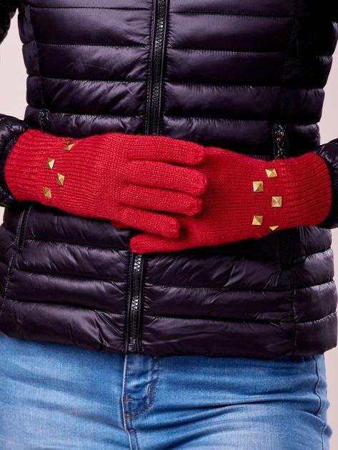 Czerwone rękawiczki z ćwiekami i ściągaczem                                  zdj.                                  3
