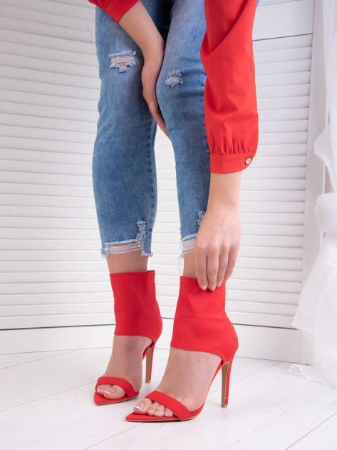 Czerwone sandały Fersini z zabudową elastyczną cholewką
