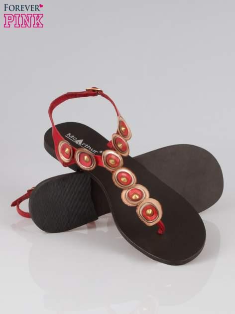 Czerwone skórzane sandały japonki w stylu etno Sharon                                  zdj.                                  4