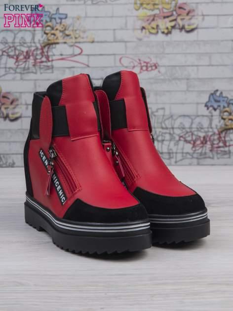 Czerwone skórzane sneakersy Perry z zamszowymi wstawkami i suwakami                                  zdj.                                  4