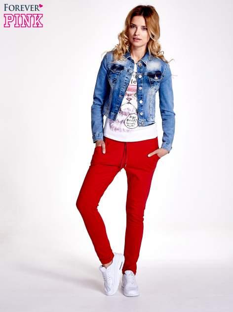 Czerwone spodnie dresowe z prostą nogawką                                  zdj.                                  2
