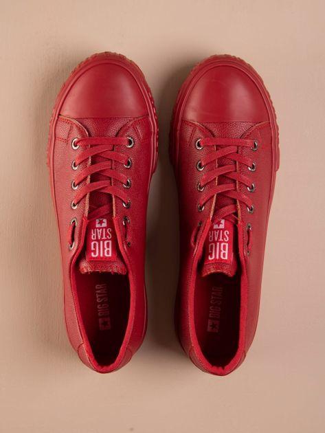 Czerwone tenisówki BIG STAR z tłoczonym logo na podeszwie                              zdj.                              2