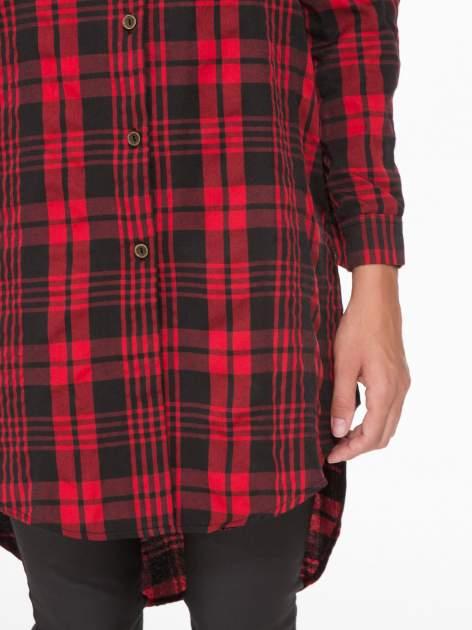 Czerwono-czarna długa koszula w kratę z kieszeniami                                  zdj.                                  6