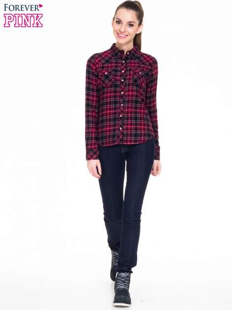 Czerwono-czarna koszula w kratę z kieszonkami                                  zdj.                                  2