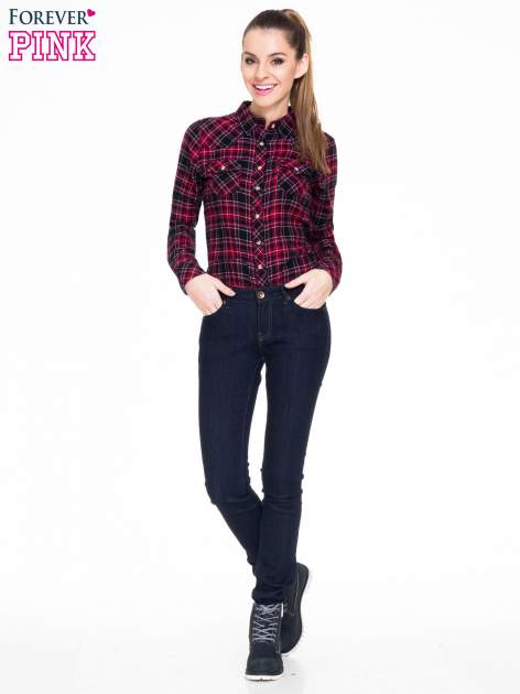 Czerwono-czarna koszula w kratę z kieszonkami                                  zdj.                                  3