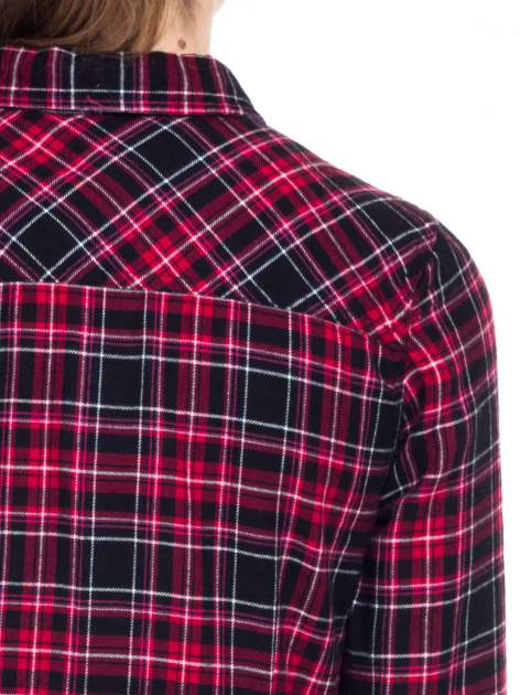 Czerwono-czarna koszula w kratę z kieszonkami                                  zdj.                                  8