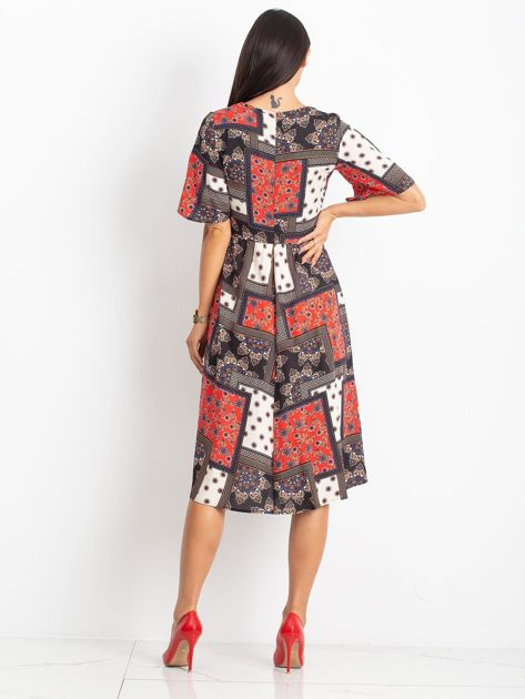 752f8811 Czerwono-czarna sukienka Calm