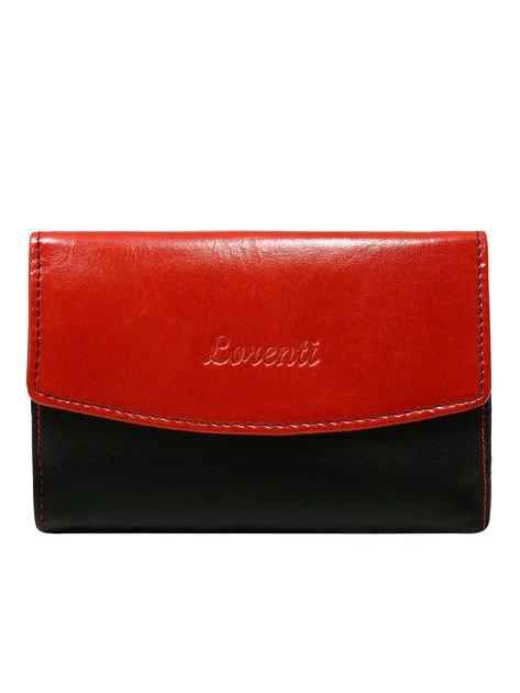 Czerwono-czarny skórzany portfel damski dwustronny