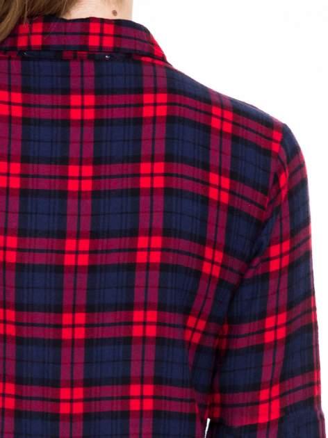 Czerwono-granatowa koszulotunika w kratę                                  zdj.                                  7