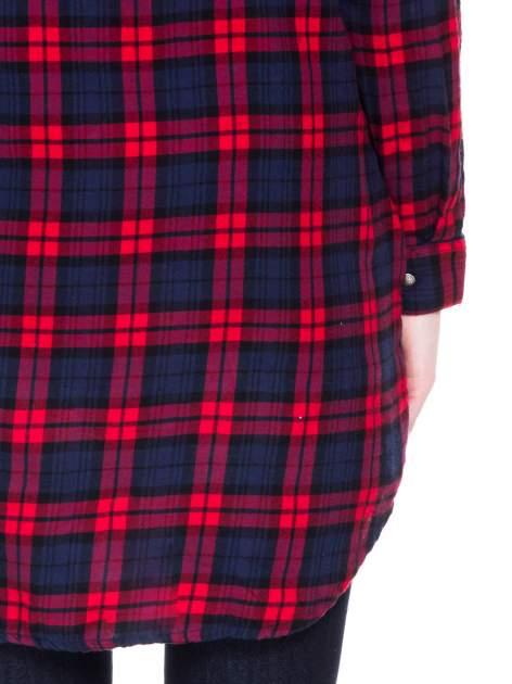 Czerwono-granatowa koszulotunika w kratę                                  zdj.                                  8