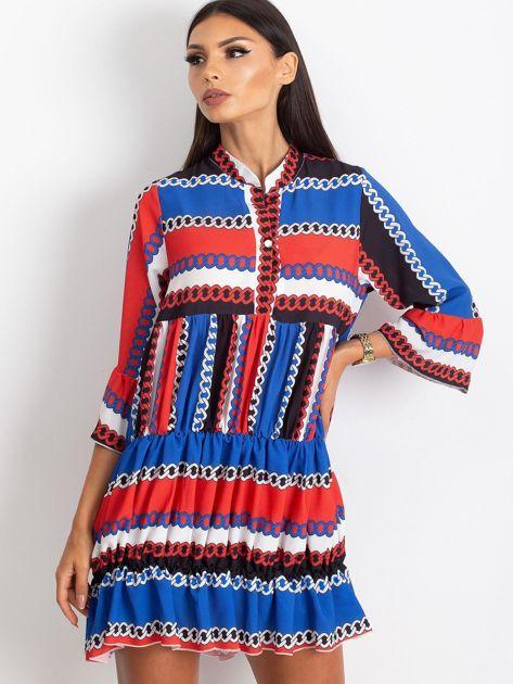 Czerwono-niebieska sukienka Blair                              zdj.                              1