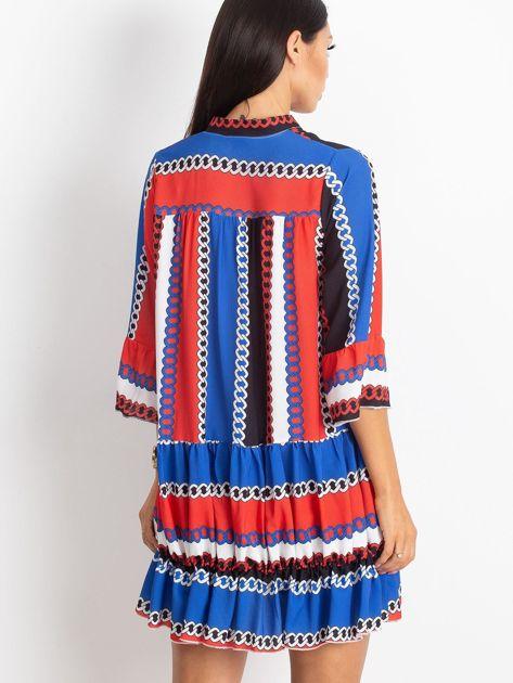 Czerwono-niebieska sukienka Blair                              zdj.                              2